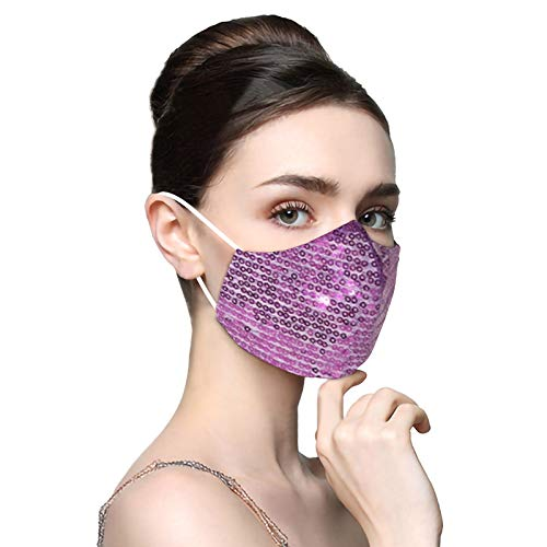 Sequin Face Cover Mask Washable Reusable Club Glitter Mouth Covering Breathable Fashion Sparkly Mask for Women,03Purple