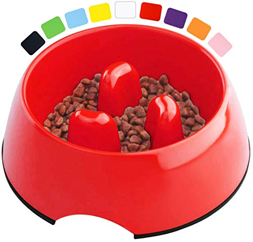 DDOXX Comedero Antivoracidad Perro, Antideslizante   Muchos Colores y Tamaños   para Perros Pequeño, Mediano y Grande   Bol Accesorios Melamina Gato Cachorro   Rojo, 300 ml