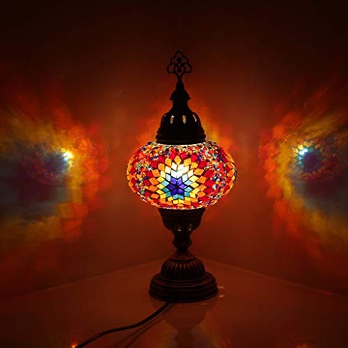 nakw88 Lámpara de Mesa de Mosaico de Estilo otomano Turco marroquí Hecho a Mano Multicolor Globo de Gran Tama?o