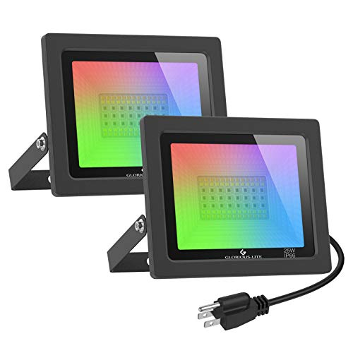 Smart RGB Flood Light with App Remote Control, Dimmable LED Flood Light Outdoor, Works with Alexa, 25W, 2000LM, Multicolor Wall Washer Light, GLORIOUS-LITE Color Changing WiFi Floodlights, 2 Pack