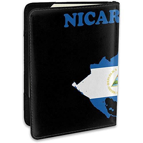 Funda de Cuero con Bandera de Nicaragua Funda de Pasaporte Funda de Viaje Monedero 6.5 In