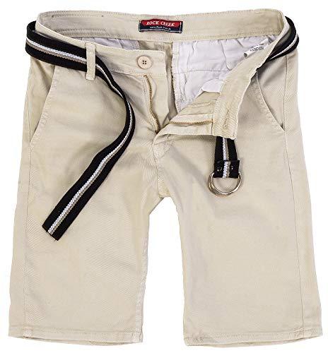 Rock Creek Herren Chino Shorts Hose Kurz Chinoshorts Inkl Gürtel Männer Sommer Bermuda Stretch Rc-2133 31 Beige
