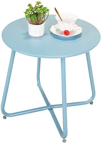 Grand patio Beistelltisch, Kleiner Sofatisch, Leicht, Stabil, Einfacher Aufbau, Runder Kaffeetisch ideal für Draussen, Wohnzimmer, Schlafzimmer, Büro (Blau)