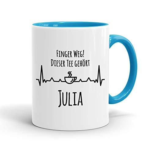True Statements Tasse Finger weg Dieser Tee gehört Wunschname personalisiert - personalisierte Kaffeetasse mit Wunsch-Name - spülmaschinenfest - tolles Geschenk zu Weihnachten, innen hellblau