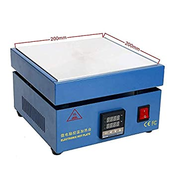 Soiiw 110V 850W LED Microcomputer Electric Hot Plate Preheat Soldering Preheating Station Welder Hot Plate Rework Heater Lab 200X200mm Plate