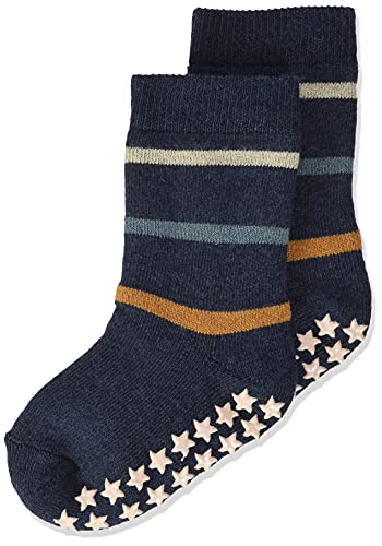 FALKE Unisex Baby Multi Stripe B HP Hausschuh-Socken, Blau (Navy Melange 6127), 74-80