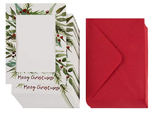 36-Pack Christmas Photo Greeting Card – Red Foil Photo Holder Sleeve, Holiday Photo Frame with Envelopes, Holds 5 x 7 Inches Inserts