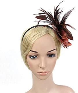 Dolity Fancy Dress Feather Fascinator Flower Veil Hat Hairband Party Costume - Coffee, 13 x 13 x 7cm