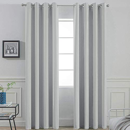 Yakamok Soft and Smooth Blackout Curtains for Bedroom - Grommet Thermal Insulated Room Darkening Curtains for Living Room, Set of 2 Panels (52 x 84Inch, Light Grey)