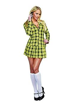 Dreamgirl Women s Fancy Girl Yellow Plaid Clueless Iggy Schoolgirl Costume Plaid Medium