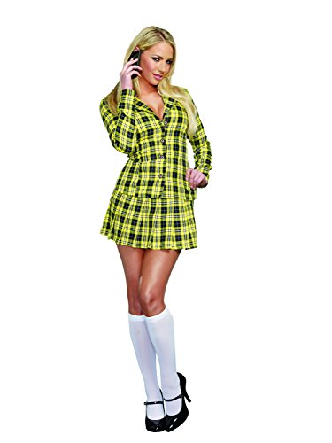 Dreamgirl Women's Fancy Girl Yellow Plaid Clueless Iggy Schoolgirl Costume, Plaid, Large