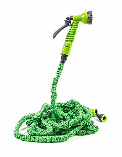 Kinzo Flexibler Gartenschlauch dehnbar bis max. 15m mit Adapter und Spritzdüse, 7 Funktionen