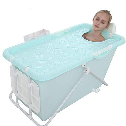 THMY Bañera Plegable portátil, bañera doméstica de 110 cm, bañera de inmersión en la Ducha, Tanto para Adultos como para niños, con Cubierta termostática (Azul)