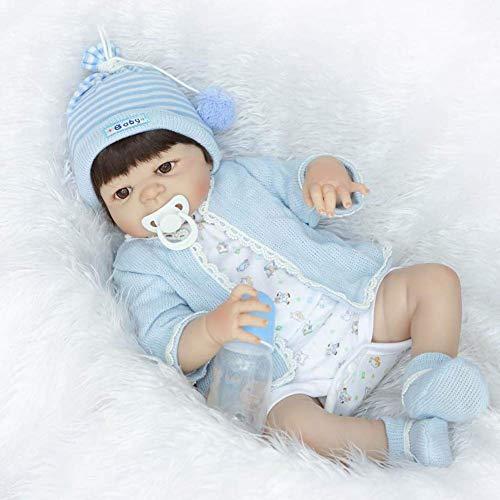 Reborn Dolls, Simulation Reborn Baby Doll Körper Silikon Reborn Bone Boy Puppenspielzeug Geburtstagsgeschenk in Wasser Bad Spielzeug 57cm
