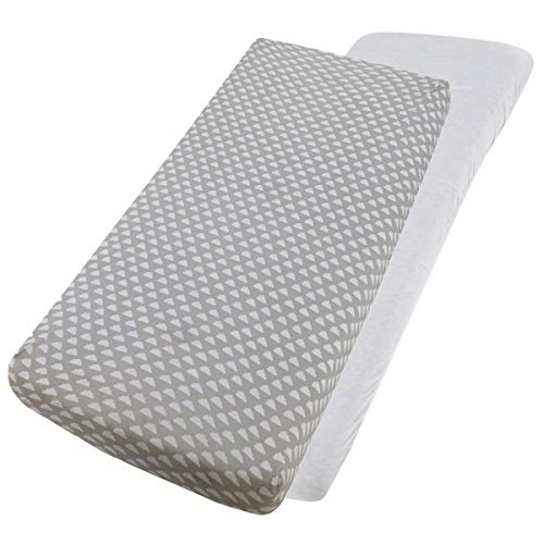 For Your Little One Jersey Fitted Sheet Compatible with Tutti Bambini Cozee Bedside Crib 55x90cm - 2X White / 2X Clouds
