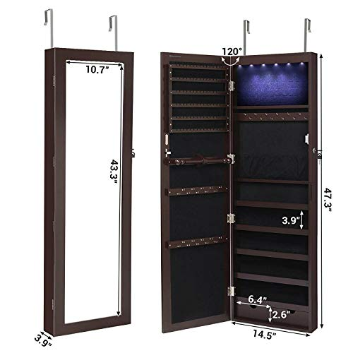 SONGMICS-6-LEDs-Cabinet-Lockable-473-H-WallDoor-Mounted-Jewelry-Armoire-Organizer-with-Mirror