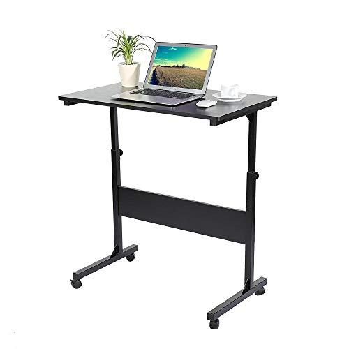 Z-SEAT Adjustable Laptop Cart, Adjustable Laptop Cart Computer Notebook Stand Desk on Wheels, Height-adjustable Office Notebook Stand Children Study Writing Table (Black)