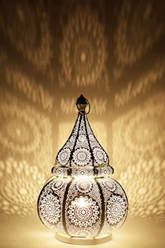 Orientalische kleine Tischlampe Lampe Malhan 38cm Weiss E27 | Marokkanische Tischlampen klein aus Metall, Lampenschirm Weiss | Nachttischlampe modern, für Vintage, Retro & Landhaus Stil Design
