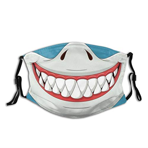 Funny Cartoon Shark Mouth Animal Face Mask Balaclava with Filters,Washable Reusable Breathable Face Protection, for Adult Men Women