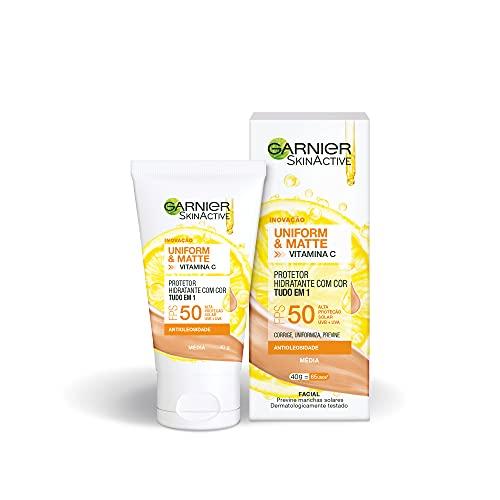 Protetor Hidratante Facial Garnier Uniform & Matte Vitamina C FPS 50 Cor Média, 40g
