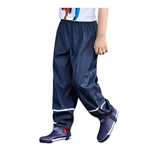 Pantalones Impermeables para Niños Unisex Cute Outdoor Deportes Pantalón de Agua Impermeable Pantalon Lluvia Azul oscuro/86/92