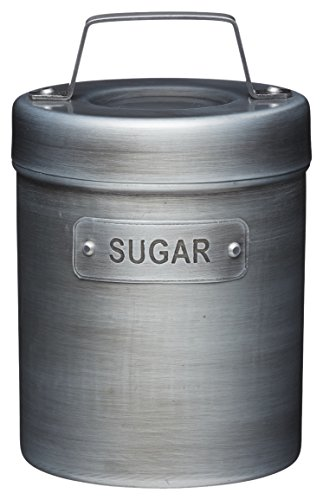 KitchenCraft Industrial Kitchen Vintage-Style Metal Sugar Container, 1 L (1.75 Pts), Silver