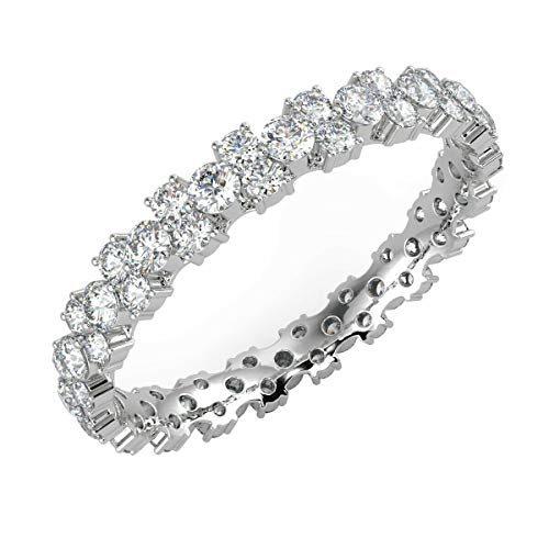 1.00ct Claw Set Round Brilliant Cut Diamond Garland Full Eternity Ring in 18k White Gold Size O