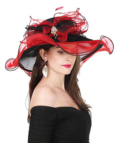 Lucky Leaf Women Kentucky Derby Church Cap Wide Brim Summer Sun Hat for Party Wedding (Bowknot-Black/Red)