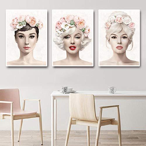 Audrey Hepburn Marilyn Monroe Flower Woman Pinturas en Lienzo Carteles e imágenes de Arte de Pared Impresas para decoración de Sala de estar-40x60cmx3 (Sin Marco)
