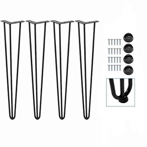 4pcs Pieds de Table Metal Pieds de Meuble Pieds Epingle DIY Pied de Table Basse Pieds en épingle à cheveux pour Table à Manger Bureau avec 20 Vis + 4 Protège Pieds