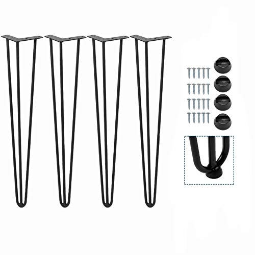 Patas de horquilla para mesa (4 unidades, 3 varillas), color negro