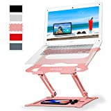 Laptop Notebook Stand Holder, Ergonomic Adjustable Ultrabook Stand Riser Portable with Mouse Pad Compatible with MacBook Air Pro, Dell, HP, Lenovo Light Weight Aluminum Up to 17'(Rose Gold)