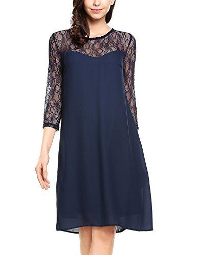 Zeagoo Damen Chiffon Kleid mit Spitzen Elegant Cocktail Party Abendkleid Sommerkleider 3/4 Ärmel A Linie Knielang Blau XL