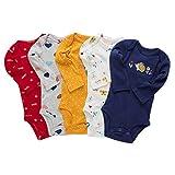 Paquete de 5 Bebé Body De Manga Larga Niños Mameluco Camisetas Paquete de Pijama Niñas Mono de Algodón 9-12 Meses