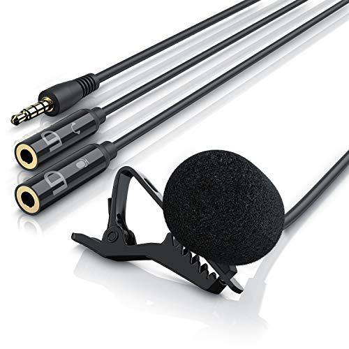 LIAM & DAAN - Micrófono de solapa |Micrófono omnidireccional para Smartphones| Incluye cable Yack con segunda entrada de micrófono + salida de auriculares | Filtro de viento
