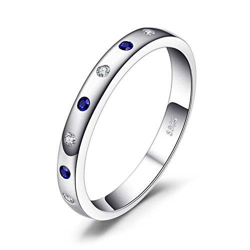 JewelryPalace Classical 0.23ct Created Sapphire Engagement Band Ring 925 Sterling Silver Size R