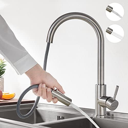 BONADE Küchenarmatur Ausziehbare 360° Schwenkbar Spültischarmatur mit Brause Edelstahl Wasserhahn Küche mit 2 Strahlarten Einhandmischer Spültischbatterie Gebürstet Mischbatterie für Spülbecken