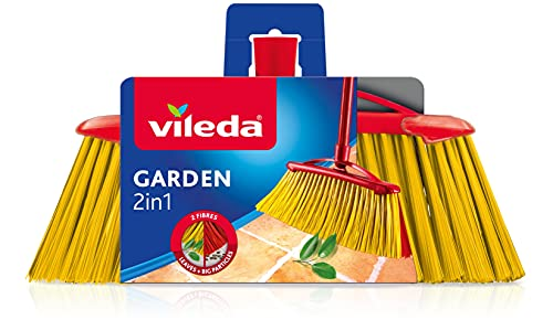 Vileda Scopa 2 in1 Garden, Scopa per Esterni, con Due Tipi di Fibre, per Giardino, per Fogliame, per Ciottoli, Fibre in PET Riciclato, 17 x 37.5 x 5.5 cm, 386 g