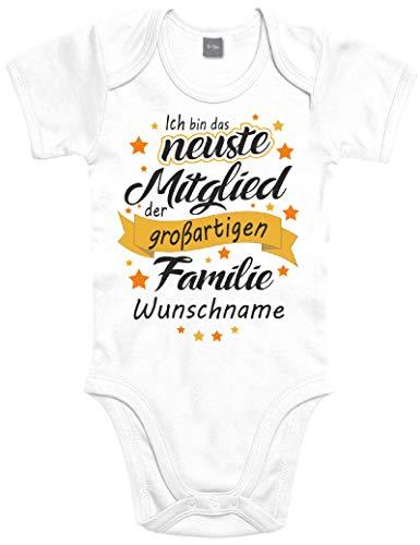 Shirtoo Individueller Baby Body Strampler Ich Bin das neuste Mitglied der großartigen Familie - für Jungen...