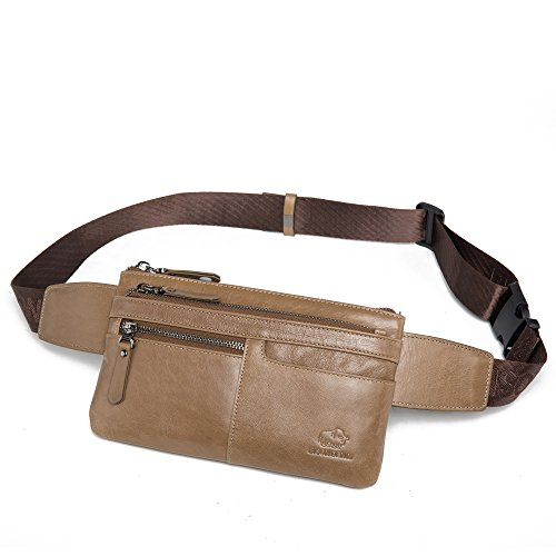 BISON DENIM Brown Genuine Leather Waist Bag Messenger Fanny Pack Bum Bag (Khaki/W2443-1KX)