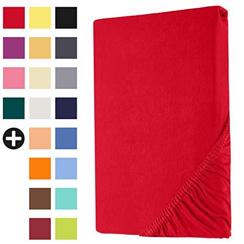 Heim24h Spannbettlaken Jersey Spannbetttuch Bettlaken für Boxspringbett Wasserbett Steghöhe von 18 bis 30 cm 100% Baumwolle elastisch atmungsaktiv und weich Rot 200x200-200x220 cm