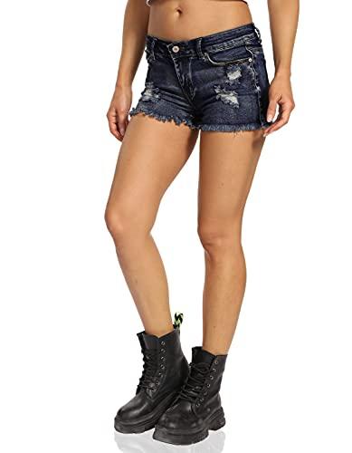 Kegiani Pantalones vaqueros cortos para mujer, estilo casual, ripped denim, azul oscuro, L