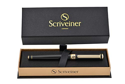 Luxury Pen by Scriveiner London  Stunning Rollerball Pen with 24K Gold Finish Schmidt Ink Refill Best Roller Ball Pen Gift for Men amp Women Professional Executive Office Nice Pens Black Lacquer