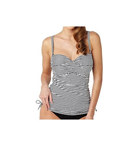 Panache Swim Women's Anya Stripe Bra-Sized Bandeau Tankini Top with Detachable Straps, Black/White, 32G