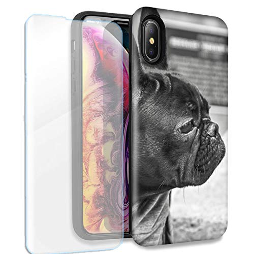 French Bulldog Double Layer Case w/Glass Screen Protector for Apple iPhone XR