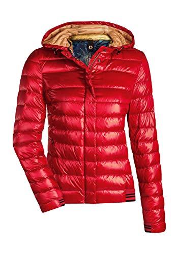 MILESTONE Damen Daunenjacke Steppjacke Übergangsjacke Herbst Winter Jacke mit Kapuze Rosa Pink Rot Orange Gold Navy Blau Grau Khaki Grün Gesteppt Gefüttert Gr. 36-48 (48, Rot)