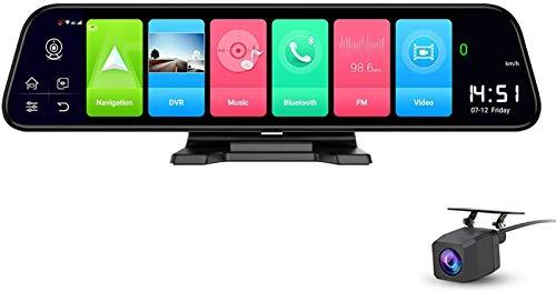 ZJWD 12 Pulgadas Cámaras De Tablero Pantalla Completa 4G Táctil IPS Tablero De Instrumentos del Automóvil Espejo Retrovisor Android Espejo WiFi Navegación GPS Música Bluetooth Lente Dual FHD 1080P