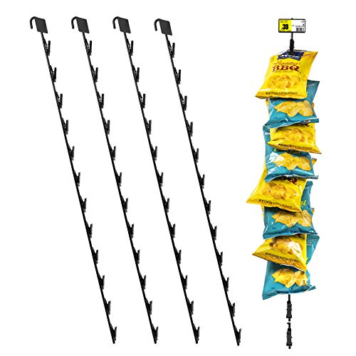 """Pack of 4 – 12 Station Hanging Merchandise Strips with Hooks, 31"""" Metal Display Clip Strips for Retail Display with Label Header"""
