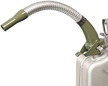 Oxid7® Spout for Metal Jerry Can - with Flexible Metal Tube - suitable for 5, 10 and 20 Litre metal canisters - Designed For Petrol - Pouring Spout end Ø 20 mm - silver-green: image