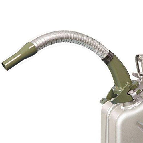 Oxid7® Ausgießer flexibel für Metall Benzinkanister Kraftstoffkanister -Olivgrün - aus Metall - passend für 5, 10 und 20 Liter Metallkanister